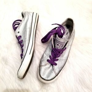 Converse all star silver glitter low top sneakers